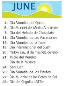 Calendario De Dias Internacionales.Junio International Day