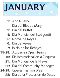 Calendario De Dias Internacionales.Enero International Day
